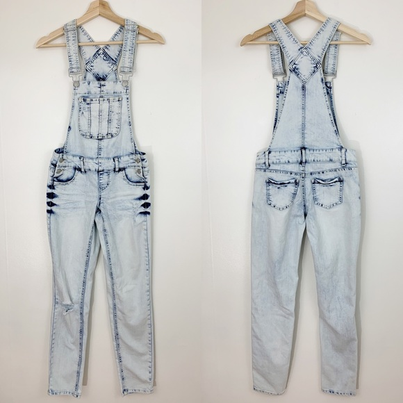 Blue Spice Denim - Blue Spice | Acid Wash Distressed Skinny Overalls